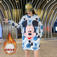 Thicken Long Students Cute Style Sweatshirt Cartoon Print Designers Loose Oversize Women Shirts Sexy Drop-shoulder Pullovers(China)
