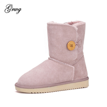 GRWG 2019 Australia Classic Genuine Cowhide Leather Snow Boots High Quality Winter Waterproof Women Boots Warm Lady Shoes цены онлайн
