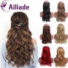 AILIADE vague synthétique Halo Extensions de cheveux pas de pince en Ombre Blonde noir brun naturel caché Secret faux cheveux pièce