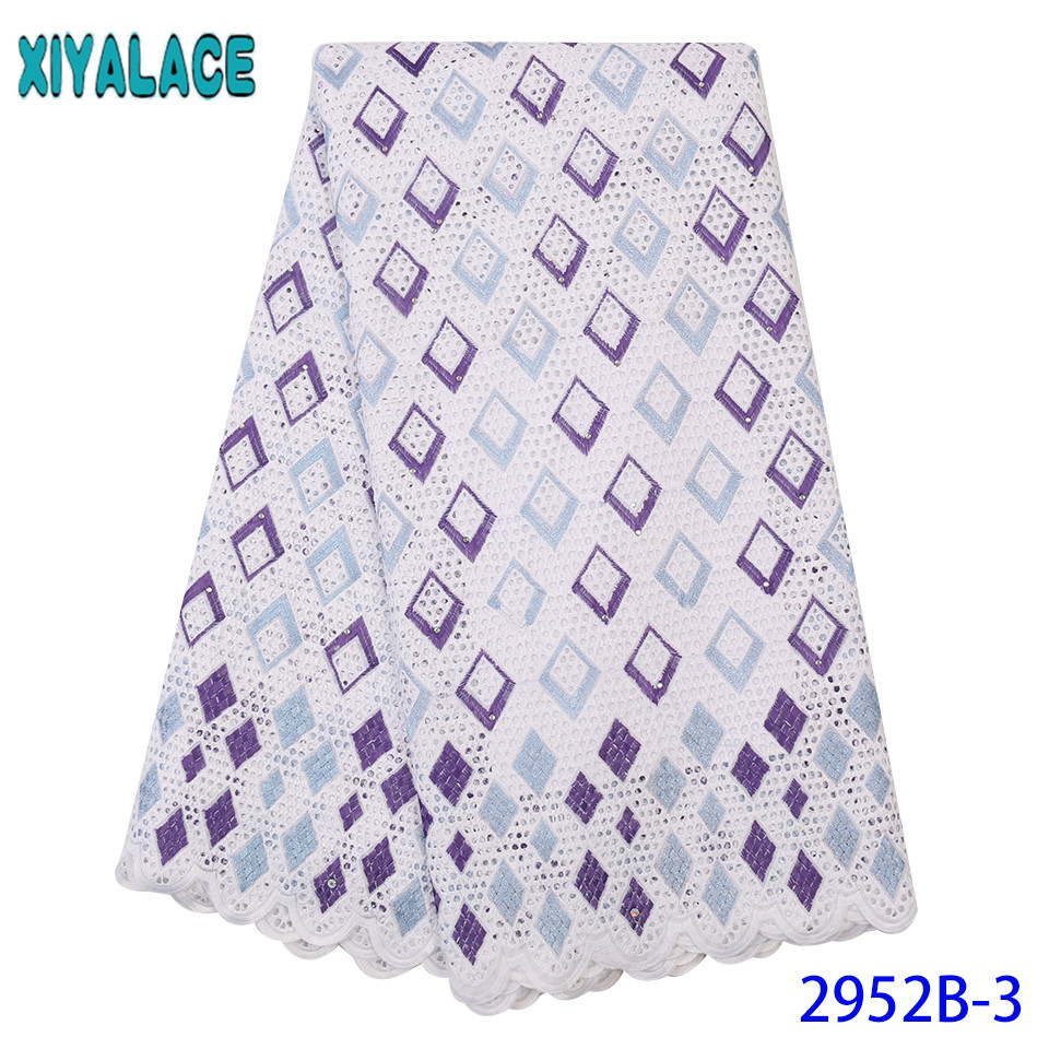 Latest Cotton Embroid Lace,High Quality Voile Lace,African Lace Fabric Swiss Voile Lace With Stones KS2952B-3