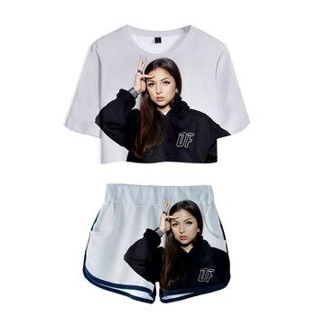 WAWNI Eva Queen 2 pieces Set Sexy Tshirt Summer Kawaii Girl Harajuku Hip Hop Sets Preppy Style 2020 New arrival Women Streetwear 1