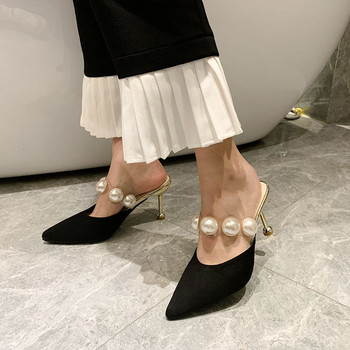Pearl Black Sandals Women Slippers Summer Shoes Woman Mules Heels 2020 Womens Outdoor Most Sold Products