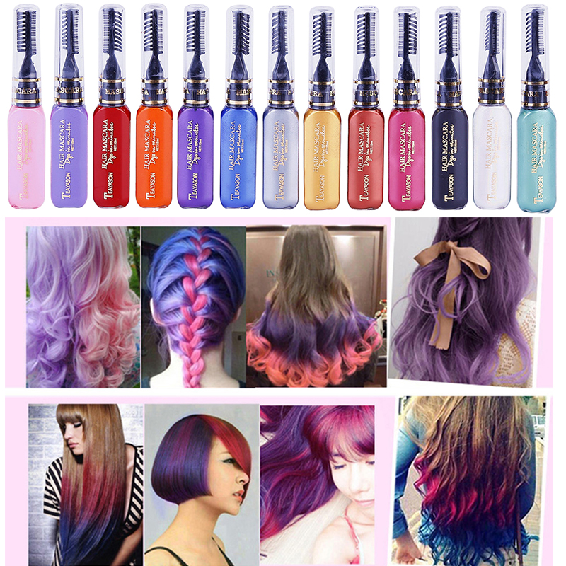13 Colors Disposable Temporary Dye Stick Mini Hair Dye Comb Hair Dye Chalk Cream Portable Hair Coloring Products