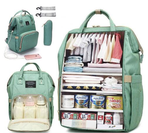 Large Capacity Diaper Bag Backpack Waterproof Maternity Bag Baby Dipaer Bags With USB Interface Mummy Travel Bag For Stroller