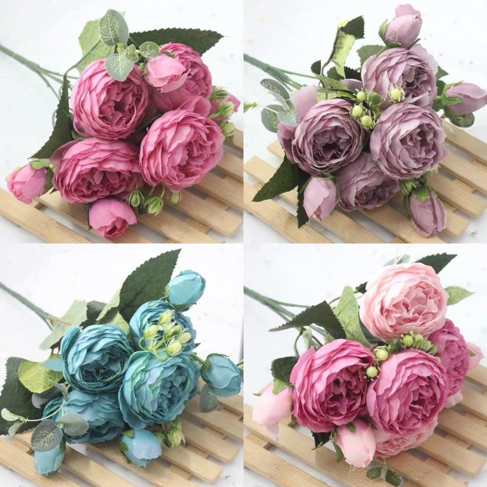 1 buquê com 9 flores artificiais de peônia, rosa e chá, camélia, de seda, flores falsas para decoração de casamento, jardim doméstico