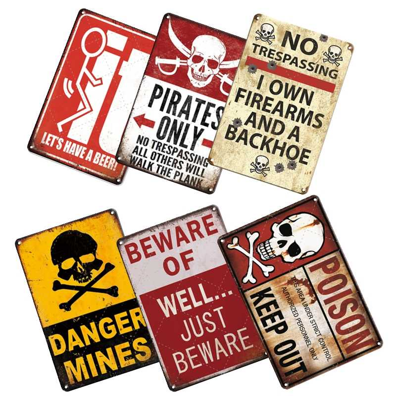 Metal Plate Sign Warn Here See Daughter Gun No Humor Cave Wall Home Decor Tin
