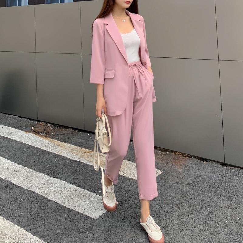 BGTEEVER Summer Women 2 Pieces Set Casual Single Button Blazer Jacket & Elastic Waist Pant Female Blazer Pant Suit 2020