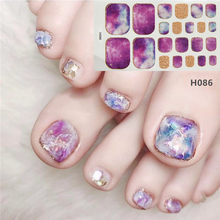 Lamemoria 1pc toe etiqueta do prego h série glitter estilo de verão dicas de flor manicure completo unha suprimentos de arte pé decalque para mulher