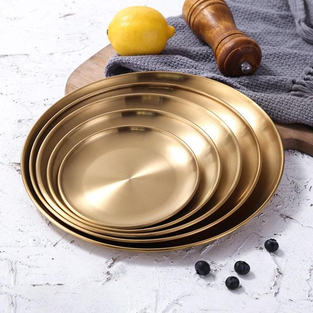 1Pcs Gold Stainless Steel Round Plate Tray Dinner Dishes Food Snacks Steak Fish Plate Eco-friendly Tableware for Kitchen Hotel