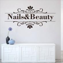 Custom Name Wall Sticker Nail Shop Hand Spa Design Salon Decal Vinyl Waterproof New Wallpaper  LW151-1