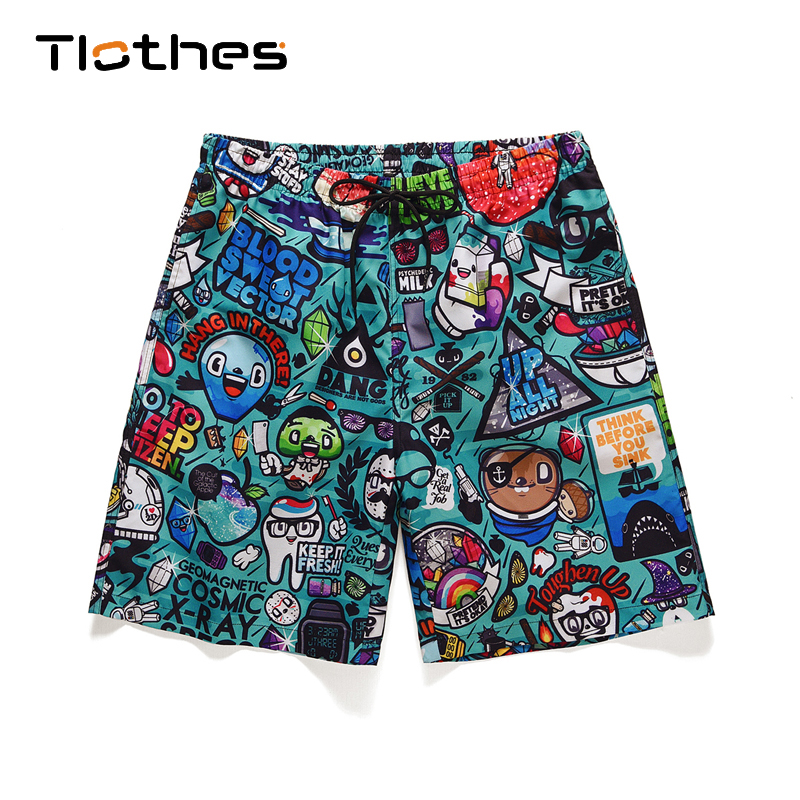 Cartoon Print Shorts Men Streetwear Harajuku Elastic Waist Summer Shorts Men Beach Casual Sports Brand Shorts With Safety Pants