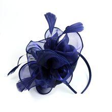 Mulheres Grampo de Cabelo Feather Mulheres Fascinator Centavo E Fitas de Penas de Casamento Festa de Moda Malha Chapéu Igreja Floral Headwear Novo