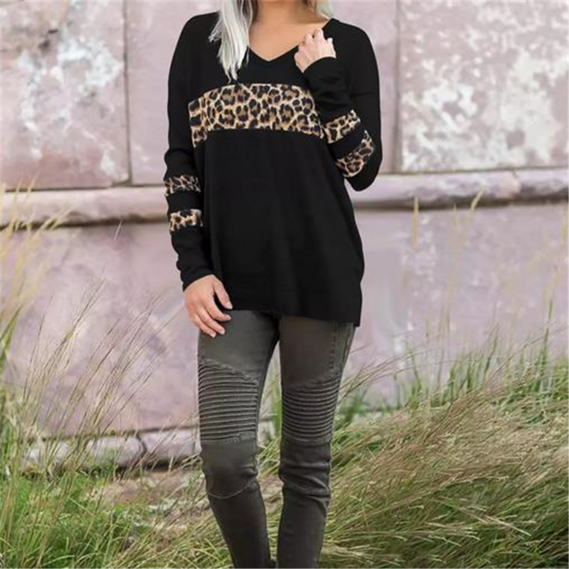 1PC Women Blouse Leopard Print Tops Shirts Long Sleeve V Neck Pullovers Blouse Ladies Shirts And Blouses Casual Tops Costume