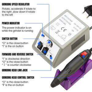 Image 2 - Professionelle Elektrische Nagel Bohren Maniküre Maschine mit Bohrer 6 Bits Pediküre nail art stift Datei Maniküre polieren werkzeug grinder