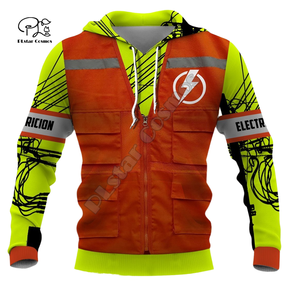 Men women electrician Print 3d hoodies works jacket Sweatshirts zipper Unisex long sleeve Pullover tracksuit coat streetwear 02