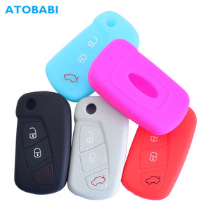 Silicone Car Key Case For Ford KA MK2 2008-2016 3 Buttons Aftermarket Folding Keychain Holder Remote Control Fob Protector Cover