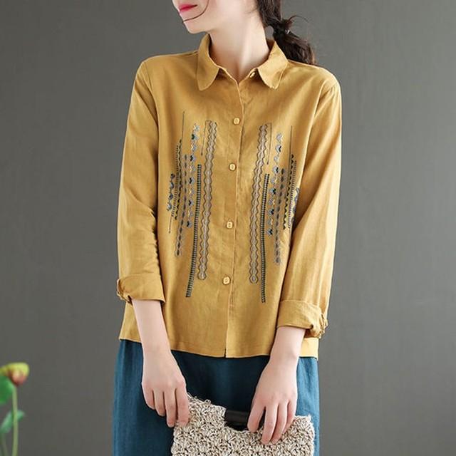 Plus Size Women Blouses Shirts New 2020 Autumn Vintage Embroidery High Quality Female Long Sleeve Cotton Linen Tops Shirt P1287 2