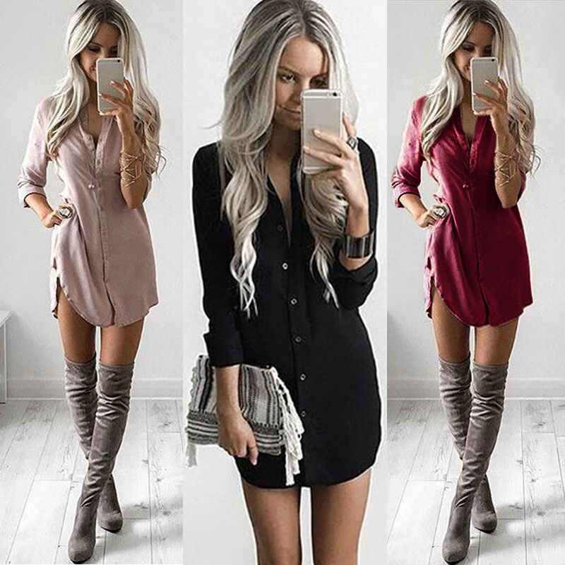 Mode Vrouwen Casual T Shirt Jurk Elegante Lange Mouwen Party Club Dress V-hals Ol Kleding Dames Robe Femme Vestidos streetwear