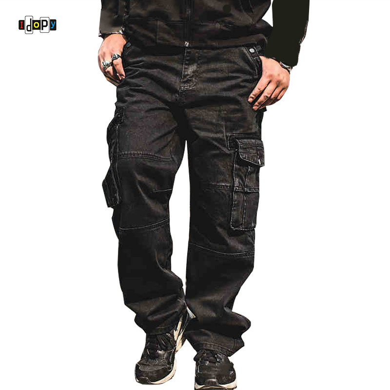Idopy Men Casual Cargo Jeans Multi Pockets Punk Hip Hop Loose Fit Denim Pants Trousers For Male Baggy Jeans Plus Size 30-46