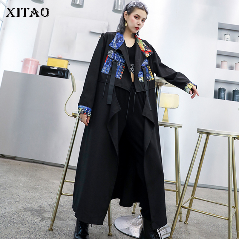 XITAO Vintage Patchwork Hit Color   Trench   Popular Women 2019 Autumn New Fashion Loose Plus Size Turn Down Collar Coat GCC1723