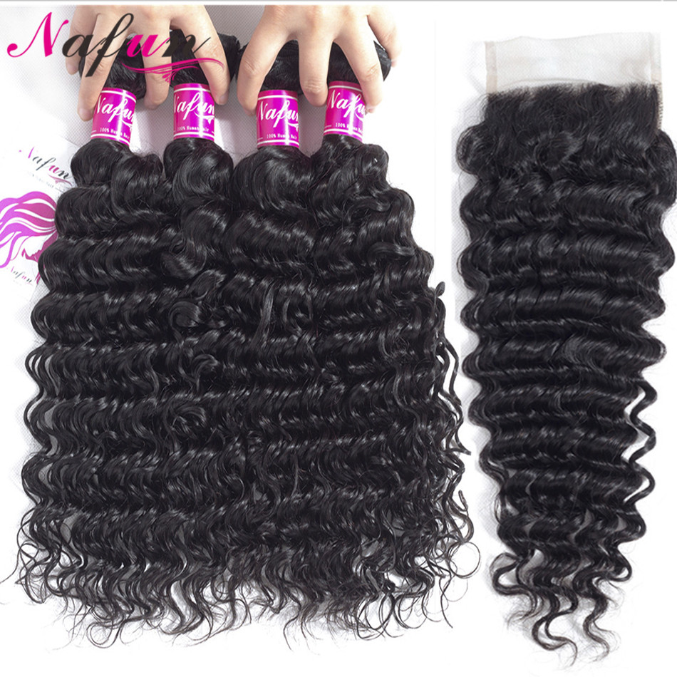 NAFUN Hair Brazilian Deep Wave Human Hair 3 Bundles With Lace Closure Natural Color 4Pcs  Non-Remy Hair Extension Free Shipping