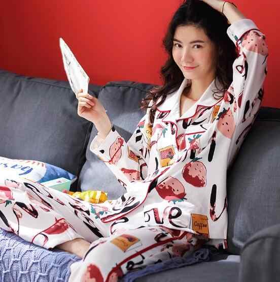 Fdfklak Cotton mặc nhà quần áo mới 2019 thu đông bộ đồ ngủ cho nữ ngọt ngào rời đồ ngủ pijama Bộ in Bộ Pyjama Femme