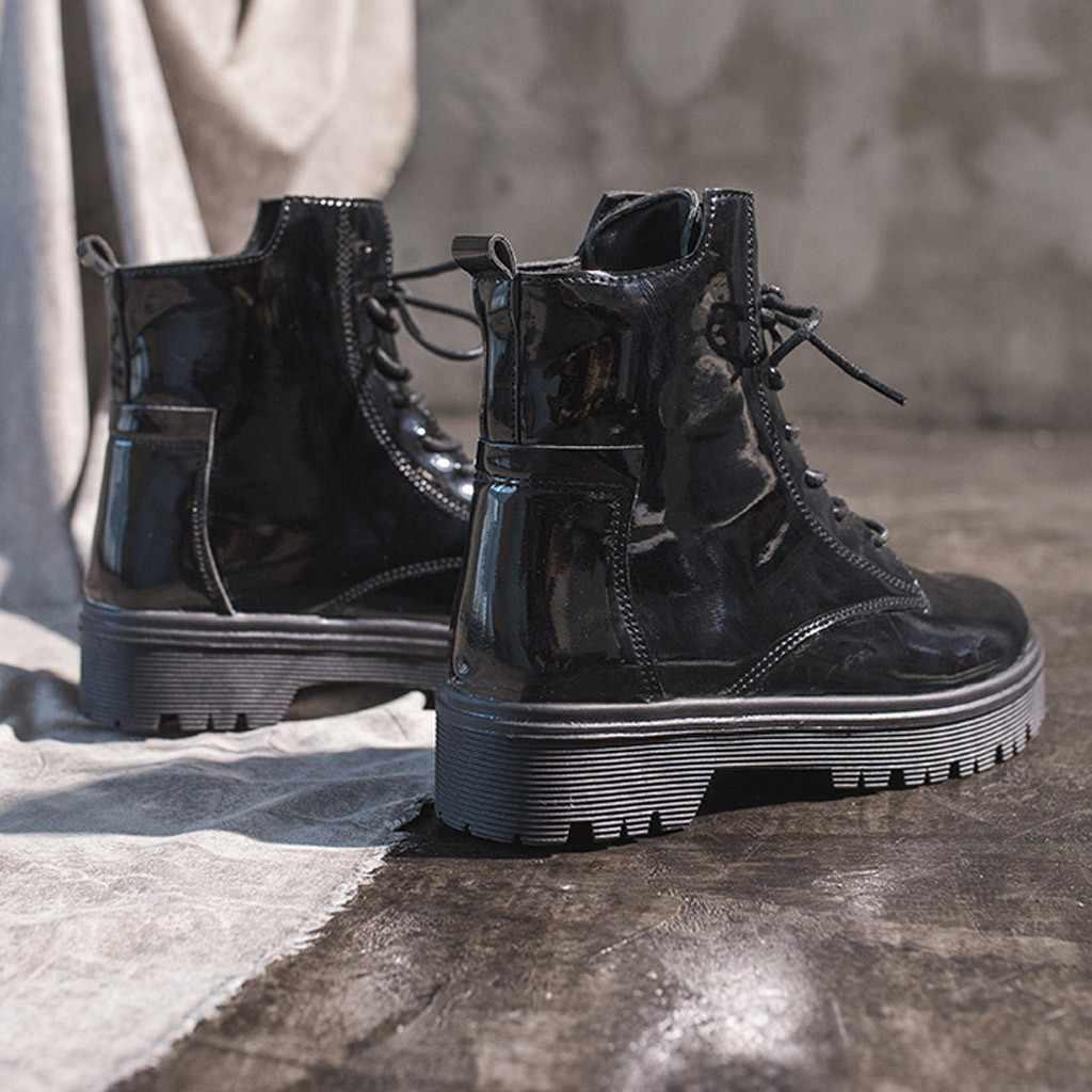 YOUYEDIAN İngiliz tarzı kadın çizmeler ayak bileği dantel-up platformu çizmeler sonbahar kış ayakkabı kadınlar düz deri çizmeler botte femme 8M355