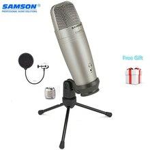 Samson C01u Pro Pop filtre Usb stüdyo kondenser mikrofon gerçek zamanlı izleme büyük diyafram kondenser mikrofon yayın