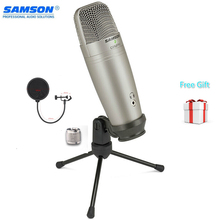 Samson C01u Pro Pop micrófono de condensador para estudio, dispositivo con filtro Usb, para control en tiempo Real, condensador de diafragma grande para radiodifusión