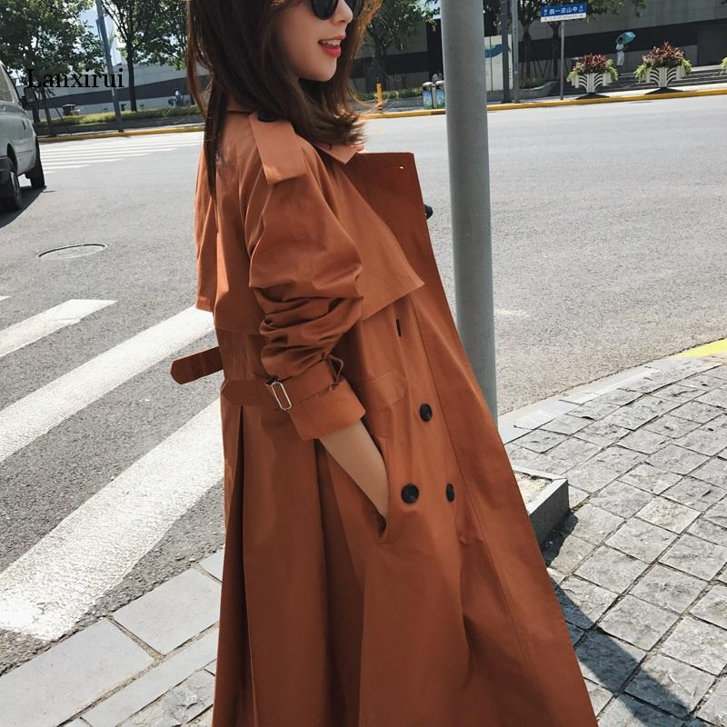 Real Photo Cloak Dust Coat Spring Women's Clothes Trench Coat Stylish Double Breasted Long Windbreakers Slim Waist Outerwear