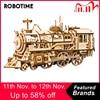 Конструктор Robotime «сделай сам» с заводным механизмом, локомотив, 3D деревянная модель, строительные наборы, игрушки, хобби, подарок для детей и взрослых LK701