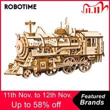 Robotime diy engrenagem clockwork drive locomotiva 3d modelo de madeira kits de construção brinquedos hobbies presente para crianças adulto lk701