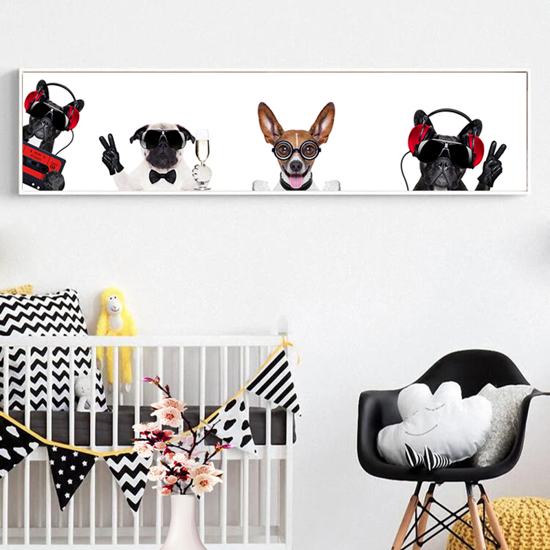 Modern Wall Art Canvas Painting Black and White Animal Print Dogs Wall Pictures for Kids Room Decor Cuadros Posters and Prints image