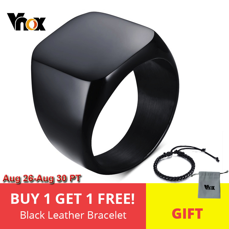 Vnox Rings Cool Jewelry Rock Punk Black Fashion Party Men's for Smooth Individuality