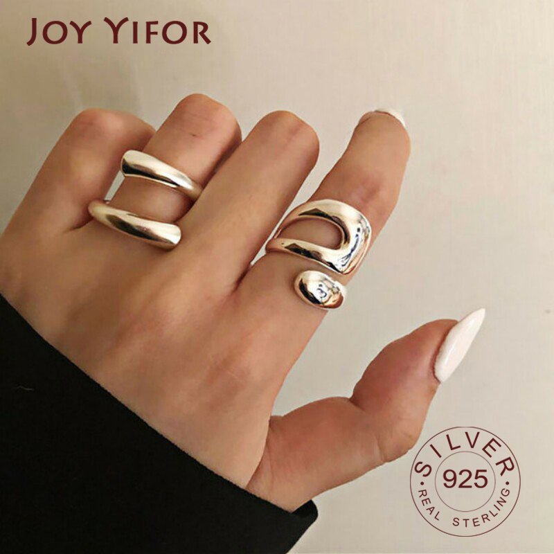 Real 925 Sterling Silver Double lines shape Personality Adjustable Ring Fine Jewelry For Women Party Elegant Accessories 1