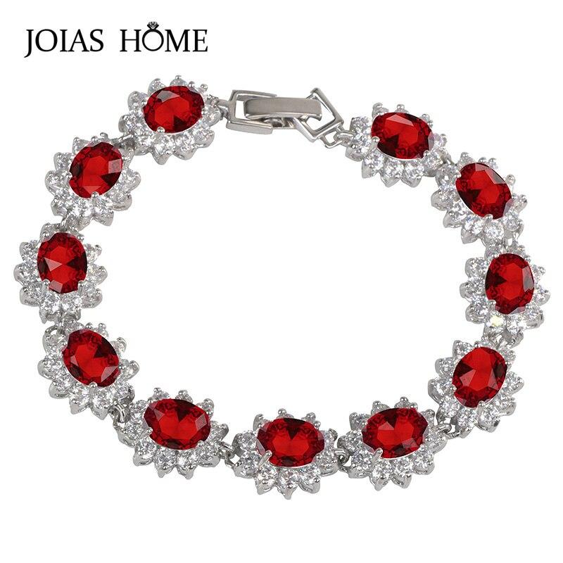 JoiasHome Trendy Silver 925 Jewelry Charms Gemstones Bracelets for Women Ruby Amethyst Emerald Sapphire Aquamarine Citrine Gift