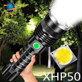 ZHIYU High Power XHP50 LED Flashlight with Power Display 26650 Battery Rechargeable LED Torch Tactical Flashlights for Camping cgig q7 high quality 12000mah power bank w lcd display led torch for iphone samsung more