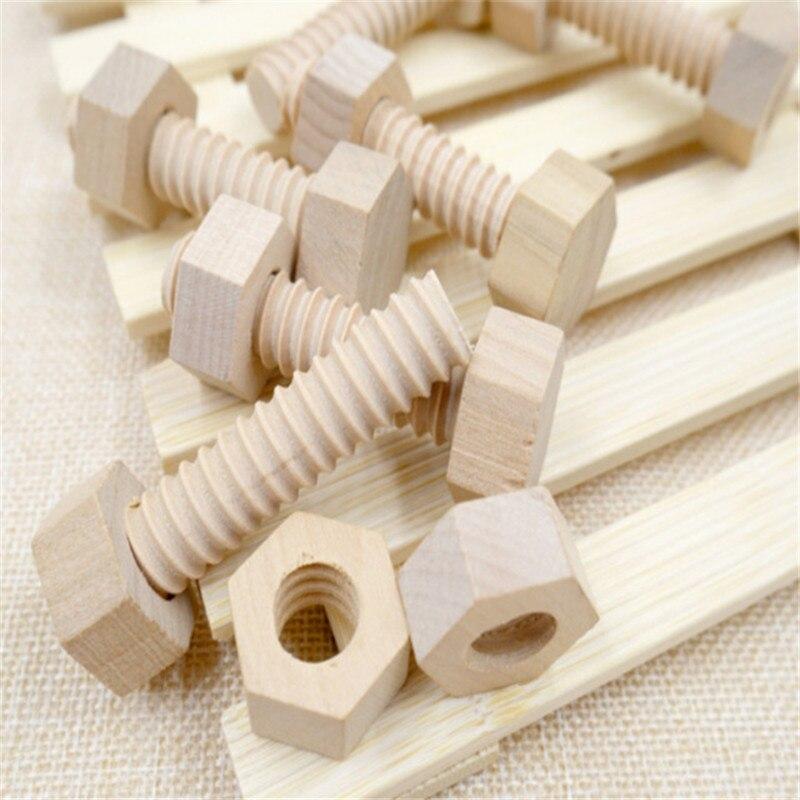 3 Sets Wooden Screw Nut Assembling Building Blocks DIY Handmade Early Educational Kindergarten Teaching Aid Toy For Children