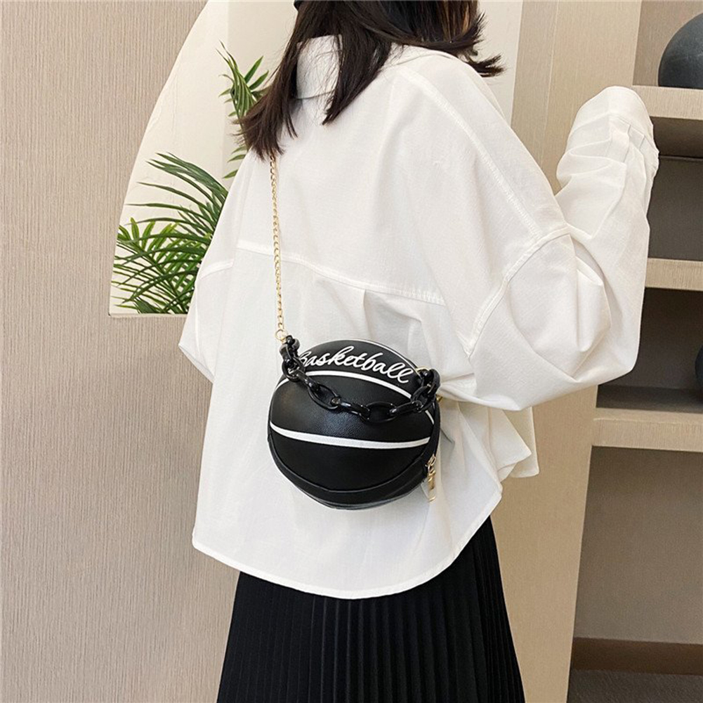 Personality female leather pink basketball bag 2020 new ball purses for teenagers women shoulder bags crossbody chain hand bags