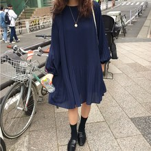 Women Round Neck Lantern Sleeves Casual Dress Vintage Summer Chiffon Pleated Sleeve Solid Loose Dresses