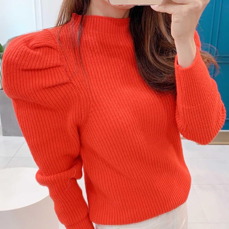 Panjang Puff Sleeve Manis Sweater Wanita 2019 Gugur Musim Dingin Baru Permen Warna Turtleneck Rajutan Sweater dan Pullovers Wanita
