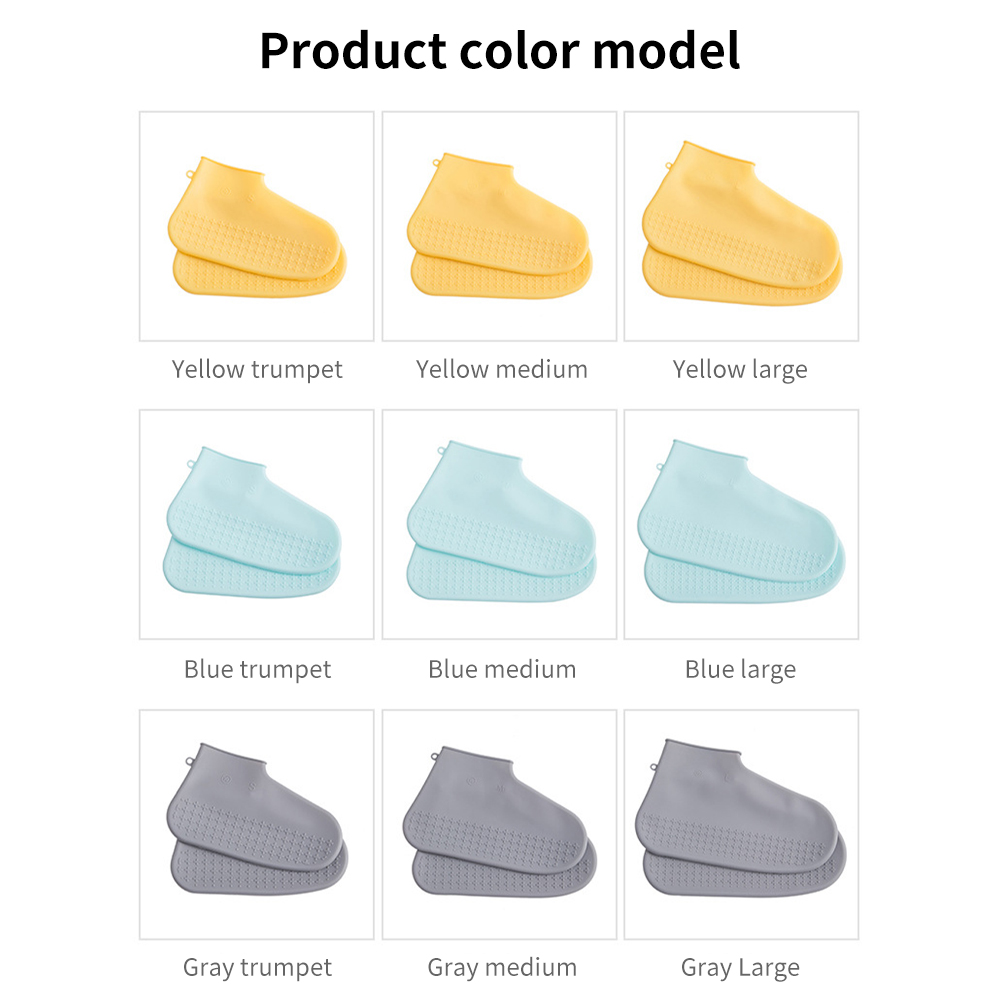 Men's and women's silicone waterproof shoe covers, thickened non-slip wear-resistant outdoor rainproof portable rain shoe covers