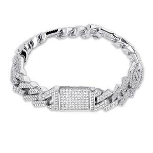 """Image 2 - JINAO Новый стильный мужской ювелирный браслет, хип хоп Рок Медный позолоченный ледяной CZ камень 14 мм браслеты с 7 """"8"""""""