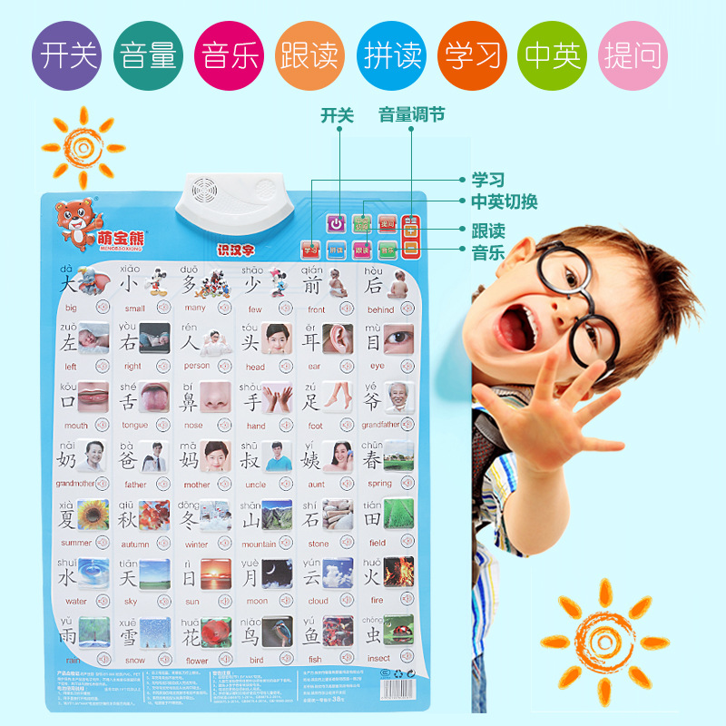 CHILDREN'S Learn Pinyin Audio Chart Early Education Sound Making Hanging Picture Reading Card Toy Children Sound Making Books Wa