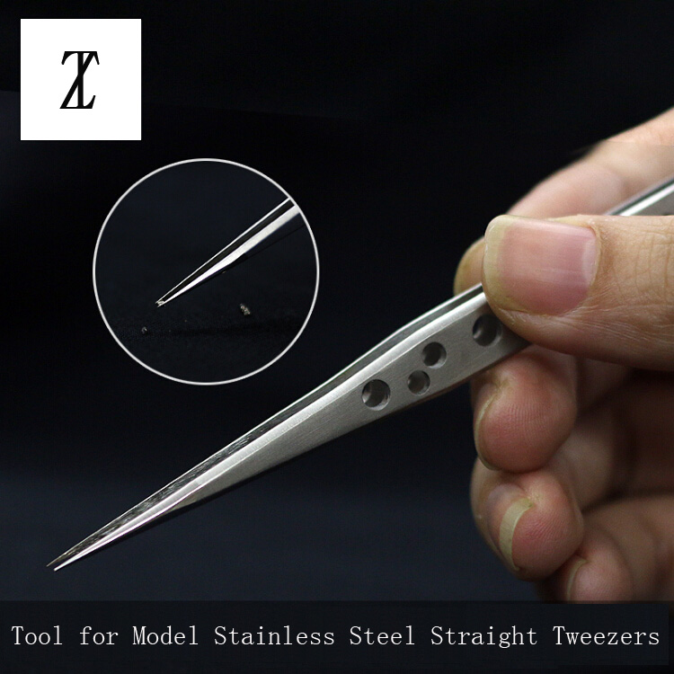 Model Making Tools Gundam Military Model Stainless Steel Antistatic Tweezers Straight Head Non-slip Tweezer