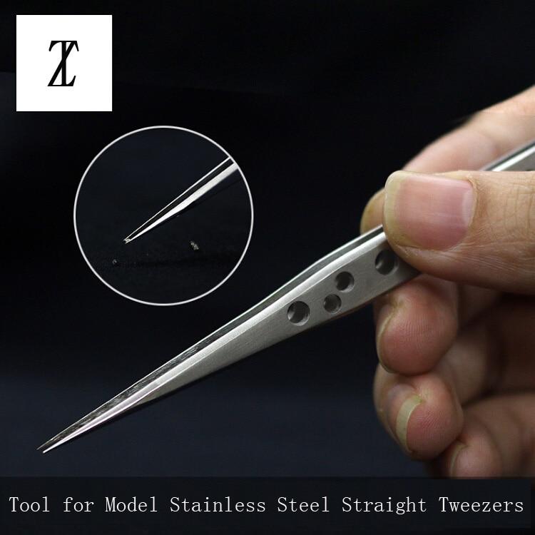 Инструменты для изготовления моделей Gundam, военная модель, антистатические пинцеты из нержавеющей стали, пинцет с прямой нескользящей голов...