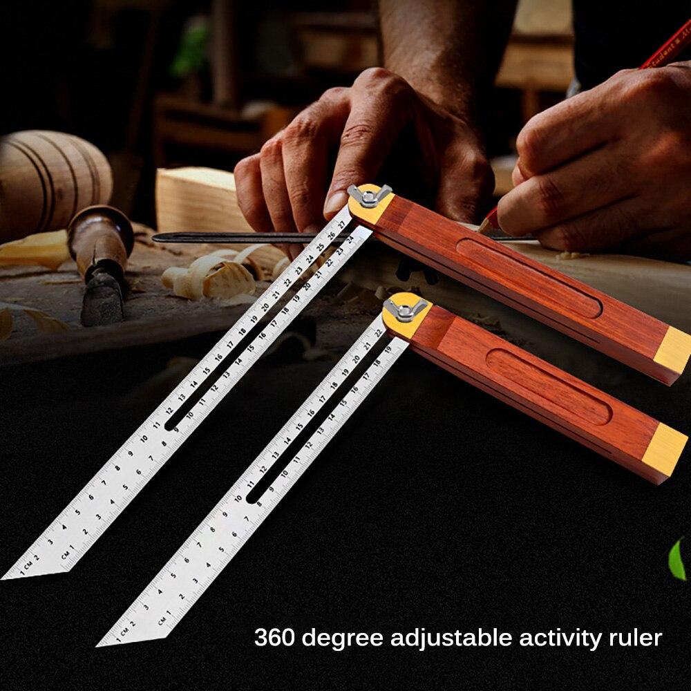 0-22/0-27 см раздвижная угловая линейка T коническая деревянная ручка вращающаяся Инженерная линейка пластиковая ручка деревянный измеритель ...