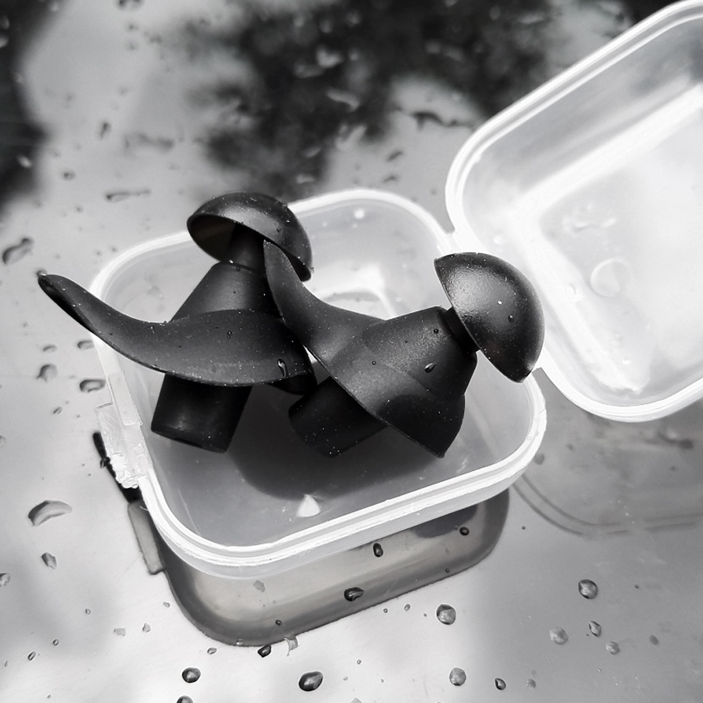 Silicone Swim Earplugs - Comfortable & Waterproof Ear Plugs For Swimming Showering Boating Spring With Carrying Case
