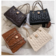 PU Leather Purses and Handbags for Women 2021 Designer Luxury Fashion Girls Female Shoppers Hot Solid Color Chain Vintage Wallet