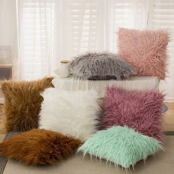 43*43cm Soft Faux wool Washable cushion Warm Hairy Seat pillow long plush cushion For car office Chairs Sofas